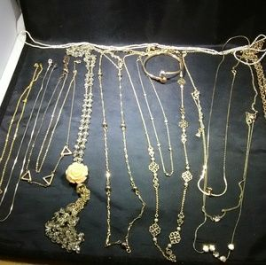 Gold necklace lot vintage and modern womens